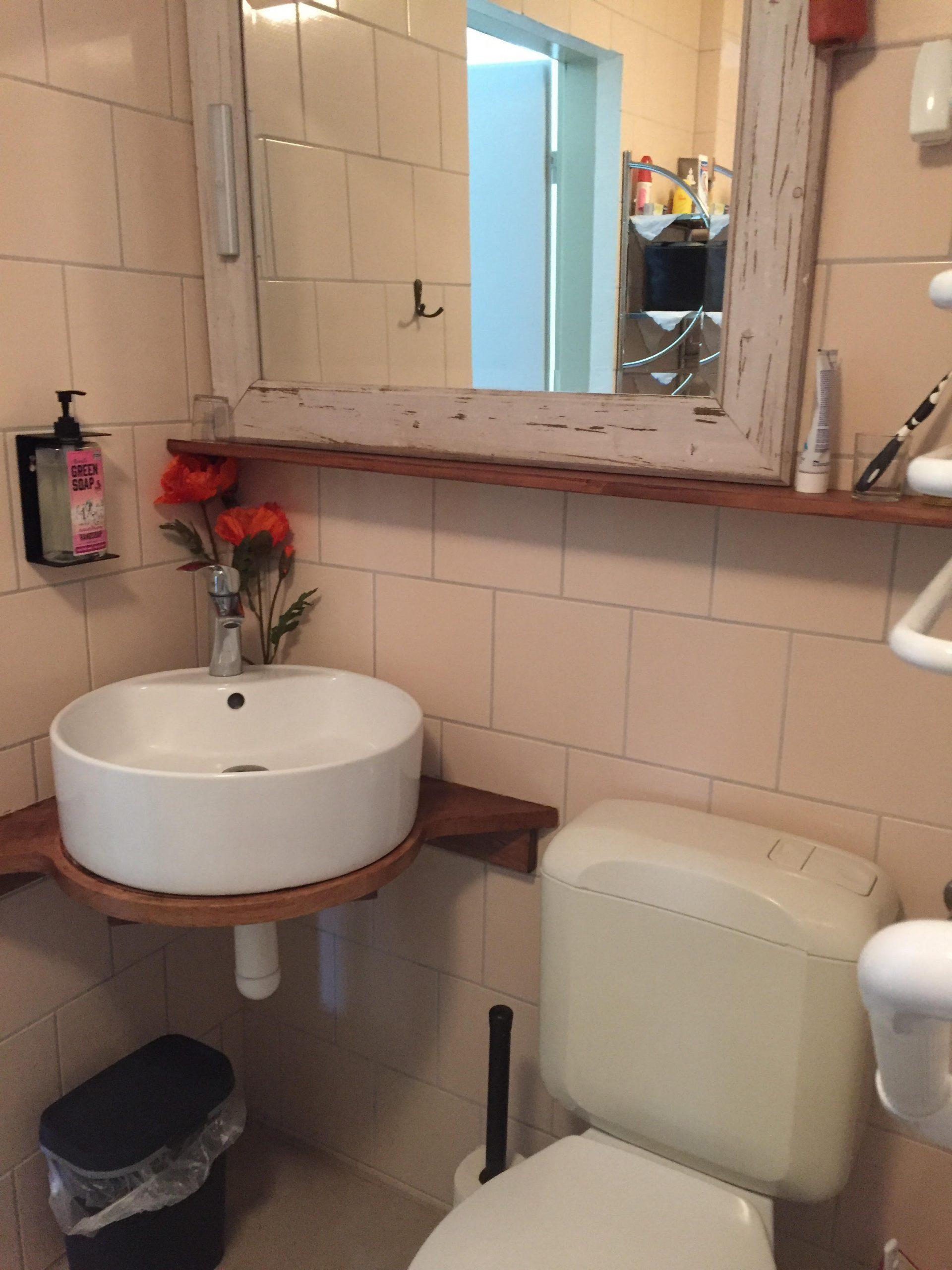 Badkamer met toilet, wasbak en douche
